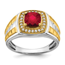 Load image into Gallery viewer, 14k Two-tone Created Ruby and Diamond Mens Ring