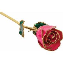 Load image into Gallery viewer, Lacquered Magenta Rose with Gold Trim