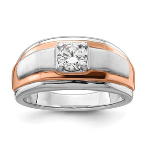Man's 14k white and rose ring with lab created diamond