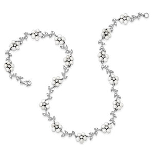 Sterling Silver Freshwater Cultured Pearl and CZ Floral Necklace