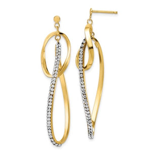 14K Gold Dangle Earrings with Swarovski Crystals