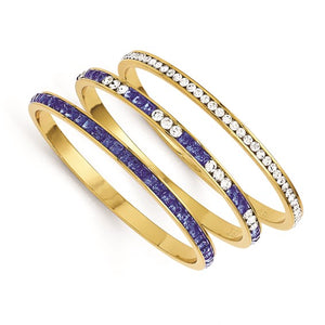 Jackie Kennedy Set of Three Blue and White Swarovski Crystal 8in Bangles