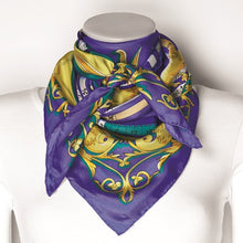 Load image into Gallery viewer, Jackie Kennedy Blue Zodiac Handmade Silk 35in Fashion Scarf by Camrose and Kross