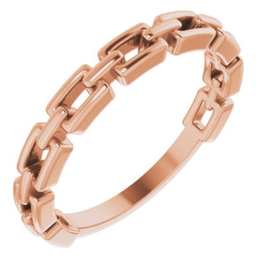 14k rose gold chain link ring