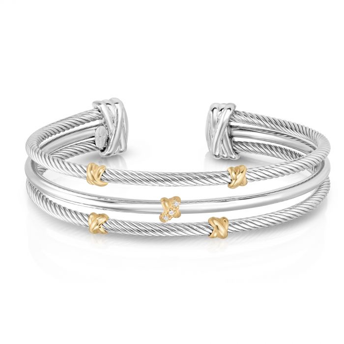 Phillip Gavriel's Three Row Abraccio Cuff with Diamonds in Sterling Silver & 18K Gold