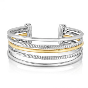 Phillip Gavriel's Magnifica Five Row Cuff in Sterling Silver & 18K Gold