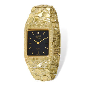 10k Gold Nugget Watch with Black Face Dial