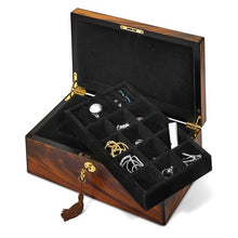 Load image into Gallery viewer, Tiger Wood Veneer Matte Finish with Inlay Design Locking Jewelry Box