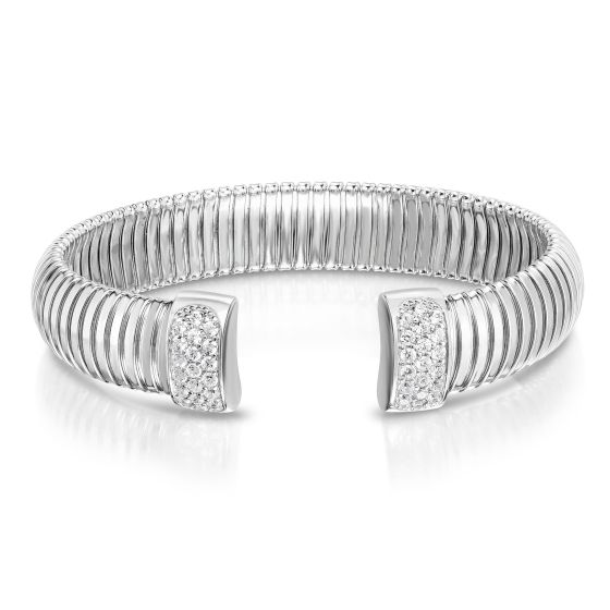 Sterling Silver Wide Tubogas Cavour Cuff Bangle with White CZ
