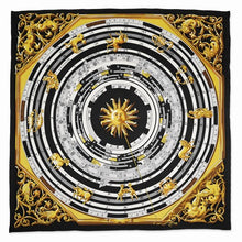 Load image into Gallery viewer, Jackie Kennedy Black Zodiac Handmade Silk 35in Fashion Scarf by Camrose and Kross