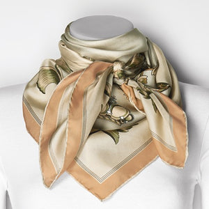 Jackie Kennedy Taupe Crown Handmade Silk 35in Fashion Scarf by Camrose and Kross