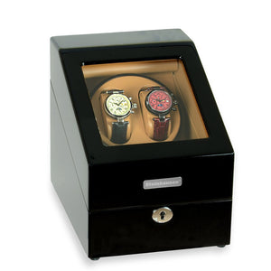 Steinhausen Heritage Onyx Finish Dual Watch Winder with Storage- Model # SW2002
