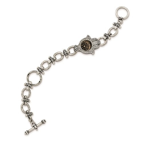 Sterling Silver Antiqued Hamsa Widows Mite Coin 7 inch Bracelet