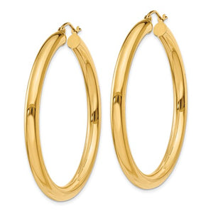 14k Yellow Gold 4mm Round Tube Hoop Earrings. 45mm Diameter.
