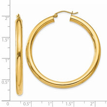 Load image into Gallery viewer, 14k Yellow Gold 4mm Round Tube Hoop Earrings. 45mm Diameter.