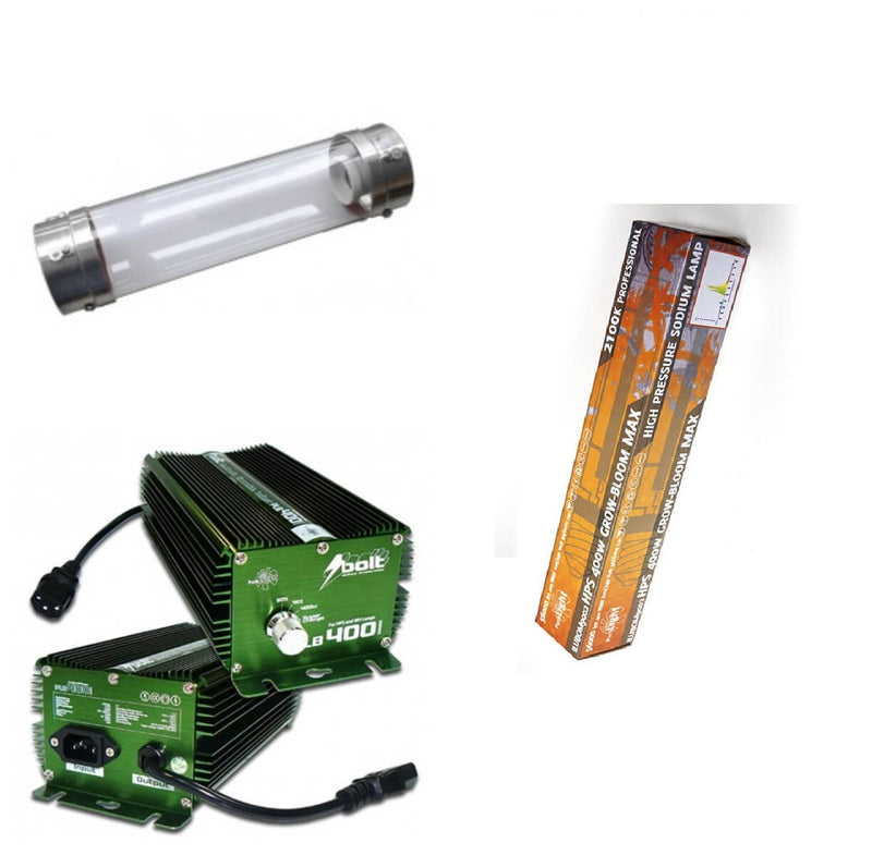 Kit 400 W Bolt + Cooltube 125 MM + Pure Light HPS 400W Grow-Bloom Max