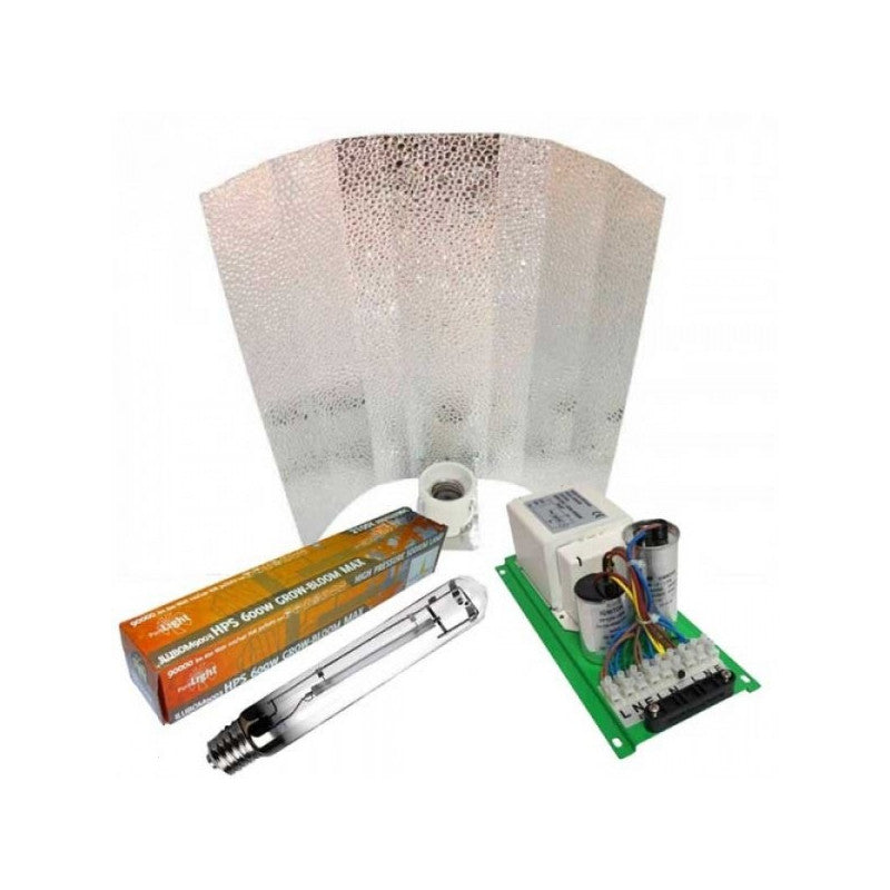 Kit Balastro pure light 600 W + Reflector stuco + Pure lights HPS 600 W Grow-Bloom max