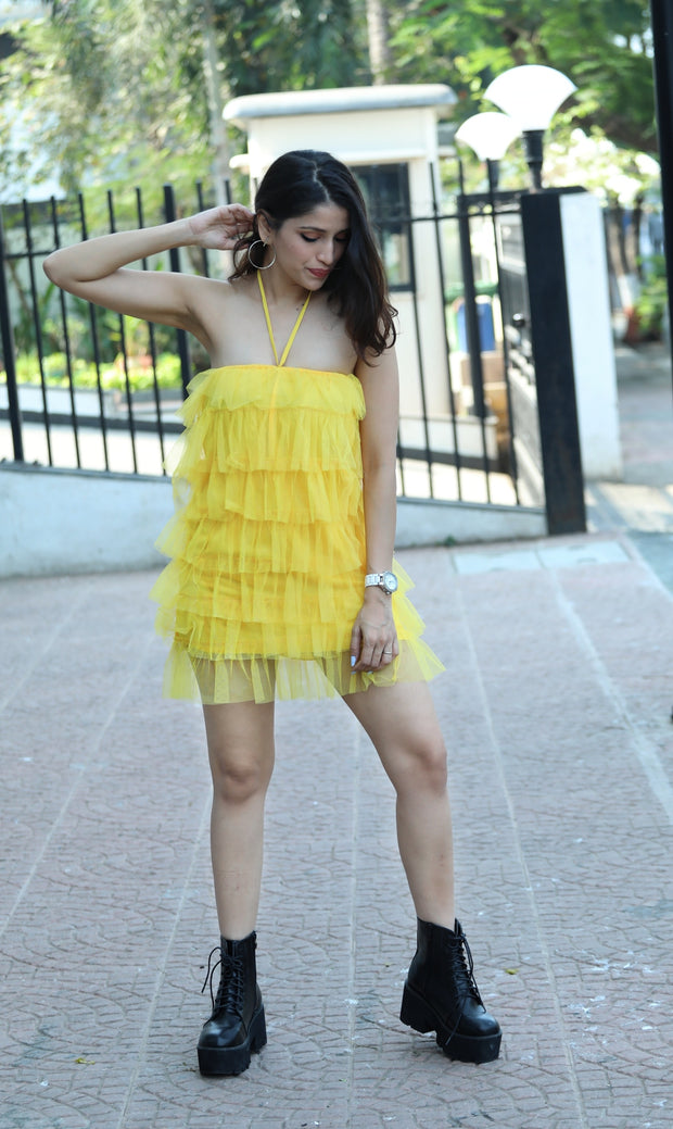 Multi-Layered Frilled Dress - Addery.co.in
