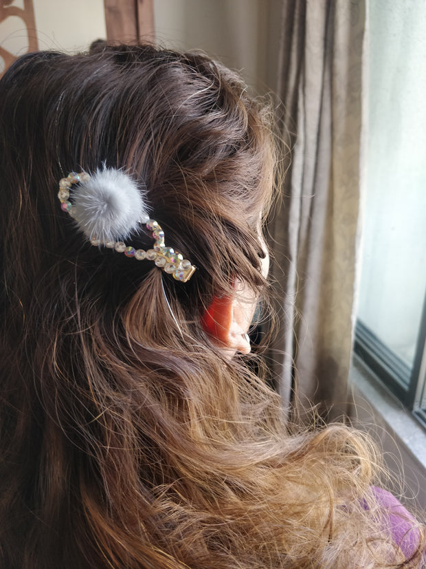 Fuzzy Studded Hair Clip - Addery.co.in
