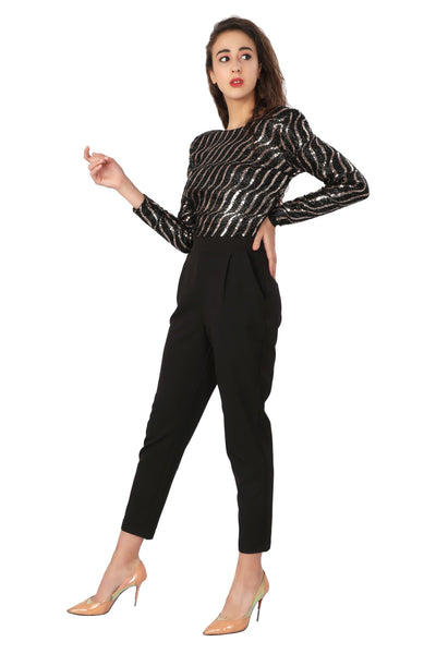 Stripe Sequin Jumpsuit