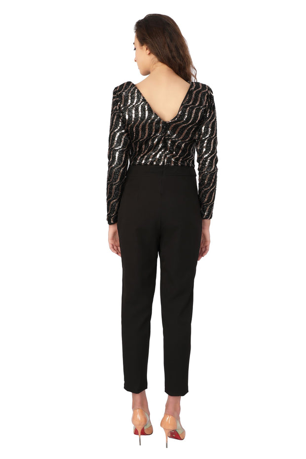 Stripe Sequin Jumpsuit - Addery.co.in