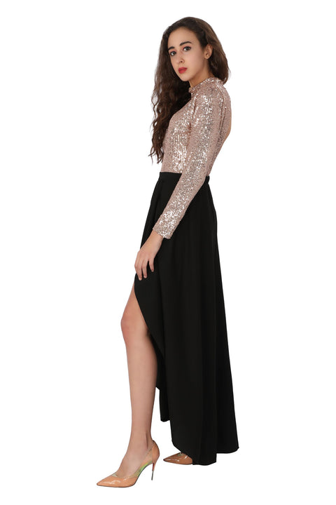 Sequin Skater Gown - Addery.co.in