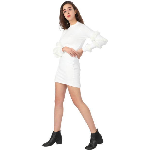 Knit Fur Sleeves Dress