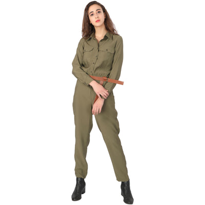 Button Up Jumpsuit - Addery.co.in