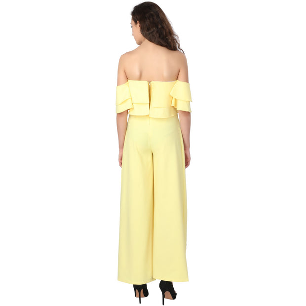 Yellow Off Shoulder Slit Set