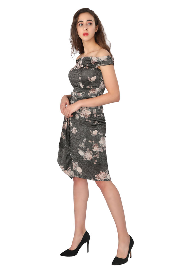 Shimmer Floral Dress - Addery.co.in