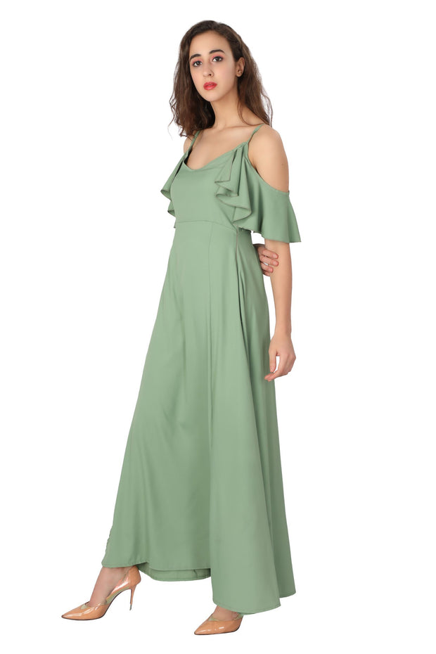 Frill Cold Shoulder Maxi - Addery.co.in
