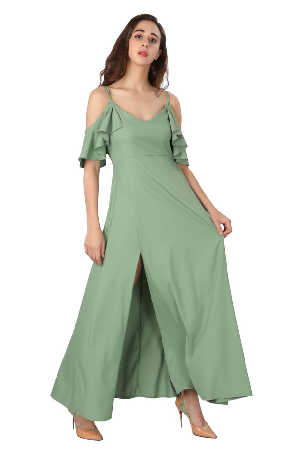 Cold Shoulder Maxi - Addery.co.in