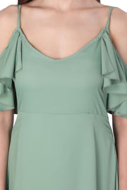 GREEN COLD SHOULDER MAXI DRESS