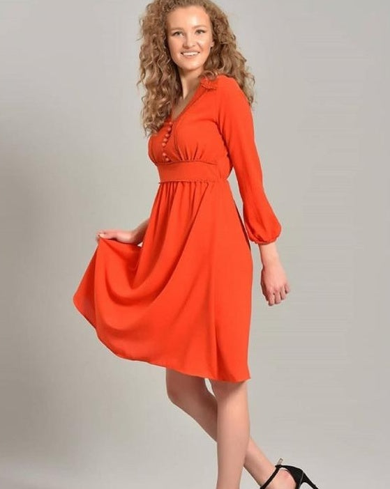 Button-Down Midi Dress - Addery.co.in