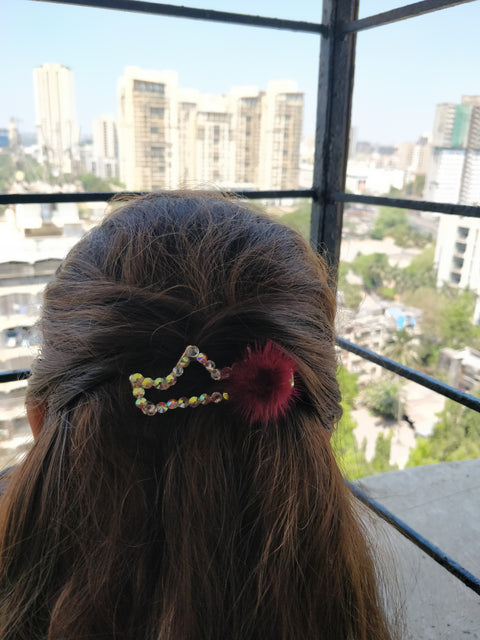 Fluffy Crown Studded Hair Clip - Addery.co.in