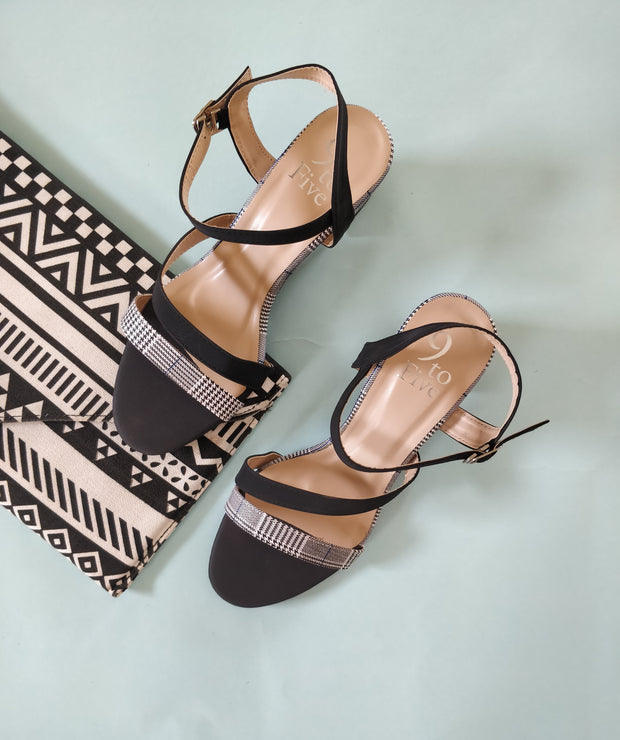 Monochrome Block Heels - Addery.co.in