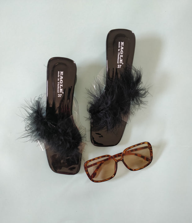 Cross Strap Fur Heels - Addery.co.in