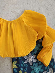 Pleated Offshoulder Skirt Set - Addery.co.in