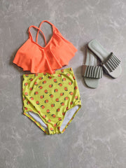 Orange Overlap Swimsuit - Addery.co.in