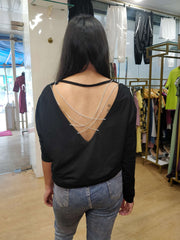 Sequin Cross Chain Mellow Out Top - Addery.co.in