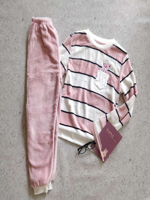 Pink Panther Stripes Lounge Wear - Addery.co.in