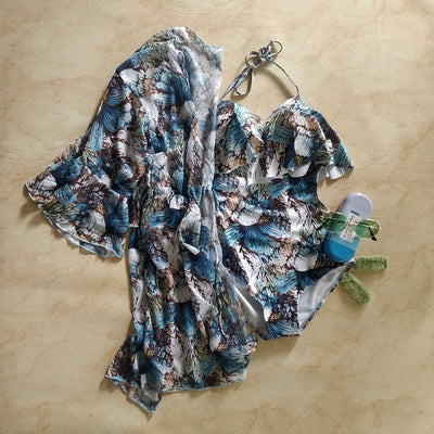 Floral Layered Shrug Swimsuit - Addery.co.in