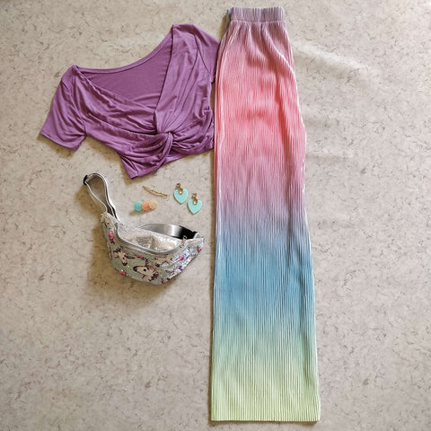 Abstract Colorblend Pleated Pants - Addery.co.in