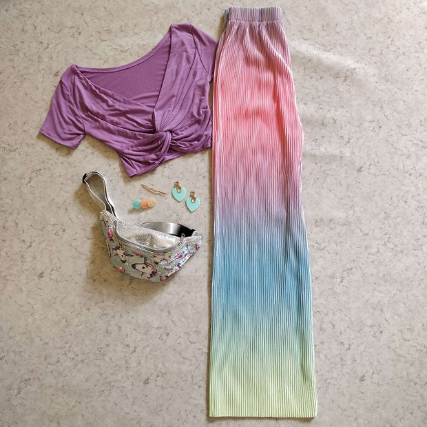Abstract Colorblend Pleated Pants