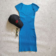 Knit V Neck  Dress