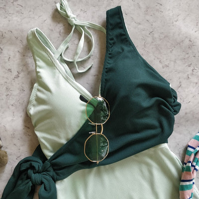 Side Tie Up Dual Color Swimsuit