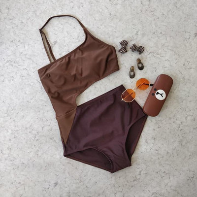 Dual Color Cut Out One Shoulder Monokini