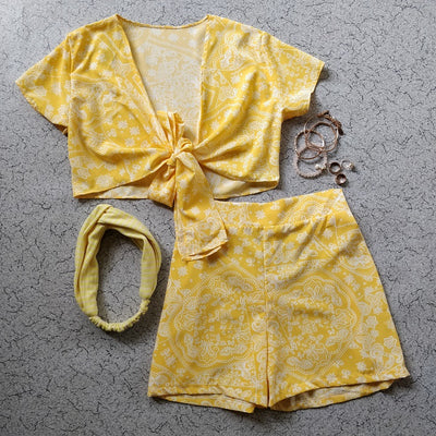 Block Print Top & Shorts Co-ord
