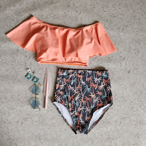 Coconut Trees Print Swimsuit