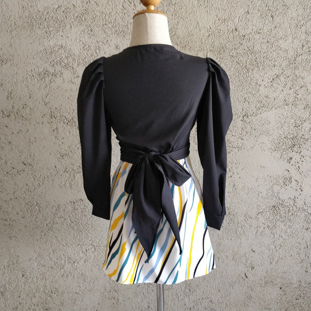 Plunge Neck Tie-up Co-ord